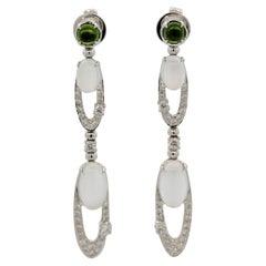 Moonstone Diamond Peridot Gold Dangle Earrings