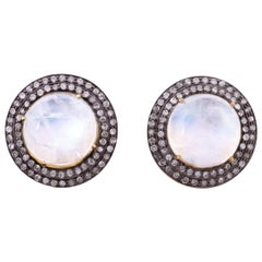 Moonstone Diamond Stud Earrings