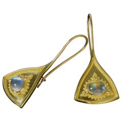 Moonstone Drop Earrings with Gold Granulation