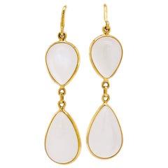 Moonstone Earrings, 18 Karat Yellow Gold, Dangle Earrings, Pear
