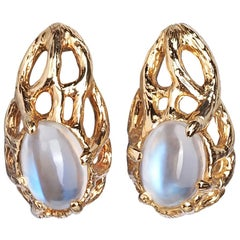 Earrings Moonstone Gold 14K Yellow Studs Art Nouveau Style Jewelry Unisex Jewels