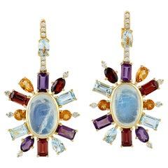 Moonstone Garnet Diamond 18 Karat Gold Earrings