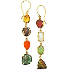Moonstone, Garnet, Turquoise, Peridot and Fire Opal Asymmetrical Dangle Earrings
