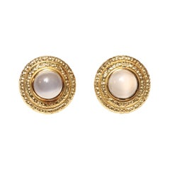Moonstone Gold Clip-On Earrings