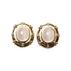 Moonstone Gold Diamonds Clip-On Earrings