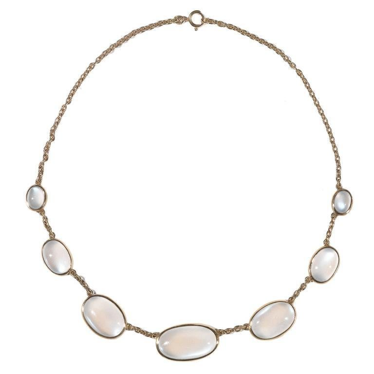 Late Victorian Moonstone Gold Necklace For Sale