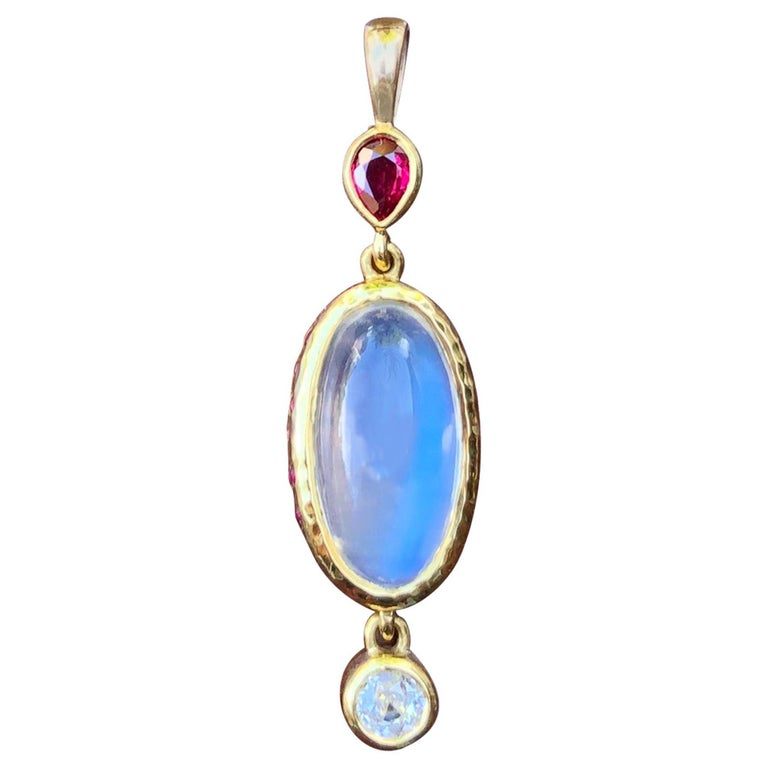 Moonstone, Mozambique Ruby, Diamond and 22 Karat Gold Pendant Necklace For Sale