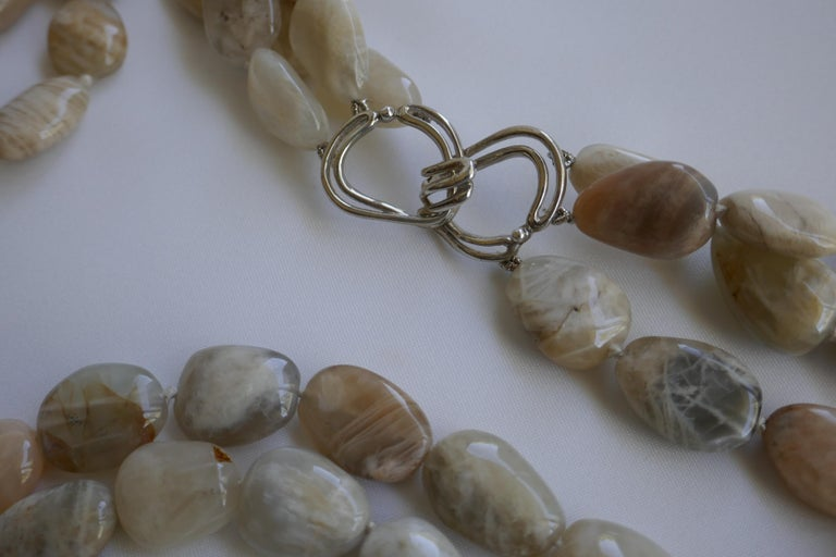 Three Strand Moonstone Nugget 925 Sterling Silver Gemstone Long Necklace In New Condition For Sale In Coral Gables, FL