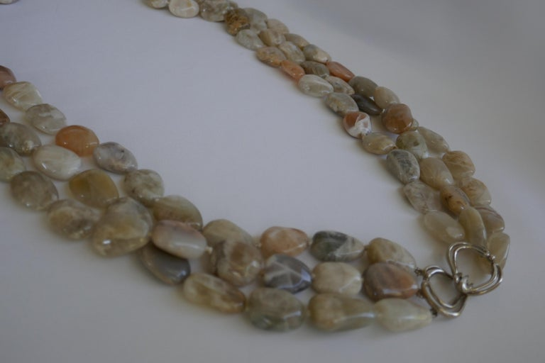 Three Strand Moonstone Nugget 925 Sterling Silver Gemstone Long Necklace For Sale 1
