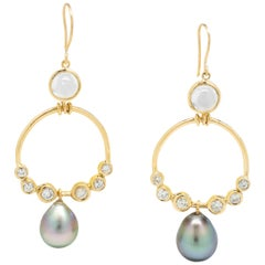 Moonstone, Old Cut Diamond and Tahitian Pearl Chandelier Earrings