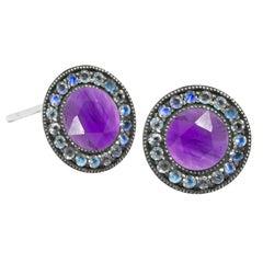 Moonstone Orbit Amethyst Oxidized Stud Earrings