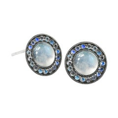 Moonstone Orbit Moonstone Oxidized Stud Earrings