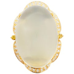 Moonstone Oval Cabochon and White Diamond Cocktail Ring in 18 Karat Yellow Gold