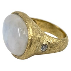 "Moonstone ""Rice Paper"" Ring of Textured 18 Karat Gold with Diamond Accent"