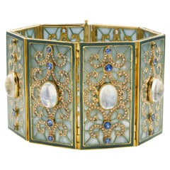 Moonstone, Sapphire and Diamond, Plique-A-Jour Enameled Gold Bracelet