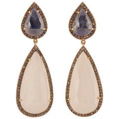 Moonstone Sapphire Diamond Dangle Earrings
