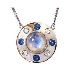 Moonstone Sapphires Diamonds 18 Karat White Gold Necklace