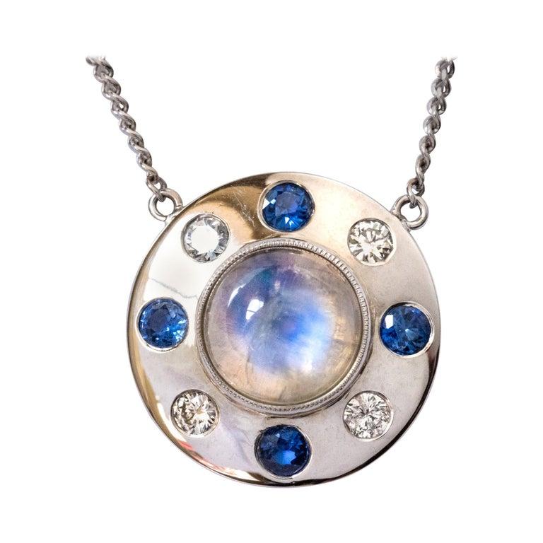 Moonstone Sapphires Diamonds 18 Karat White Gold Necklace For Sale