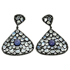 Moonstone, Tanzanite and Black Diamond PIerced Dangle Earrings