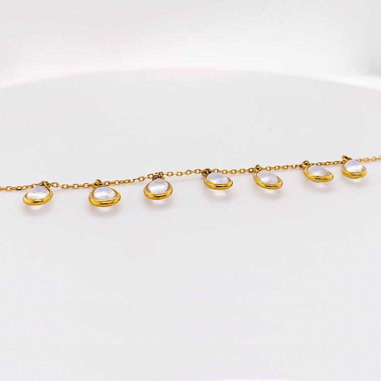 Artisan Moonstone Teardrop Necklace Bezel Set in 18k Gold, Original Necklace Adjustable For Sale