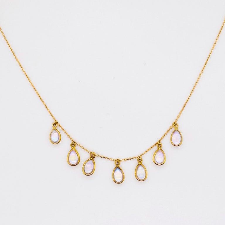 Briolette Cut Moonstone Teardrop Necklace Bezel Set in 18k Gold, Original Necklace Adjustable For Sale