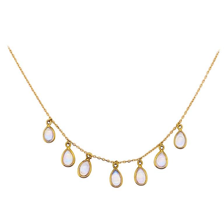 Moonstone Teardrop Necklace Bezel Set in 18k Gold, Original Necklace Adjustable For Sale