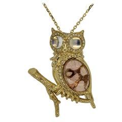Moonstone Tourmaline Diamond Gold Owl Pendant