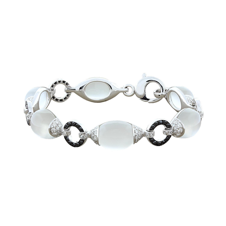 Moonstone White Black Diamond Gold Bracelet