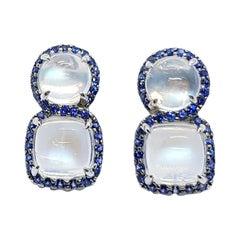 Moonstone with Blue Sapphire Earrings Set in 18 Karat White Gold Settings