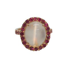 Moonstone with Ruby Ring set in 18 Karat Rose Gold Settings