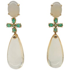 Moonstones, Hydro Citrine and Emeralds on Yellow Gold 18k Chandelier Earrings