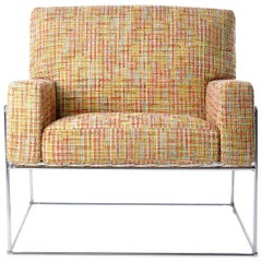Moooi Charles Chair in Orange Boucle with Chrome Frame by Marcel Wanders