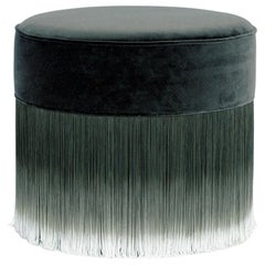 Moooi Dark Gray Velvet Pouf with Fringe