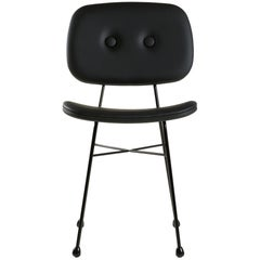"""Moooi """"The Golden Chair"""" in Matt Black Synthetic Leather and Black Steel Frame"""