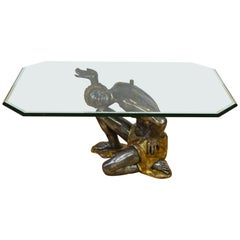 Moor Coffee Table with Beveled Crystal Glass Top
