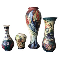 Moorcroft Pottery Made in England Design Four Flower Vases