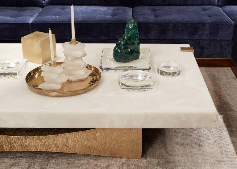 Indian Moore Coffee Table by DeMuro Das in White Onyx with Beaten Bronze Finish Base For Sale
