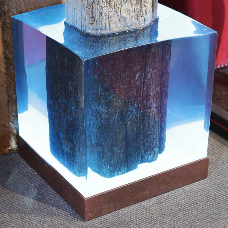 Contemporary Mooring Venezia Columns Sculpture on Resin Lighted Base For Sale