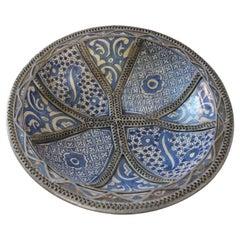 Moorish Blue Ceramic Dish Bowl Adorned with Silver Filigree from Fez
