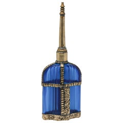 Moorish Blue Glass Perfume Bottle Sprinkler with Embossed Metal Overlay
