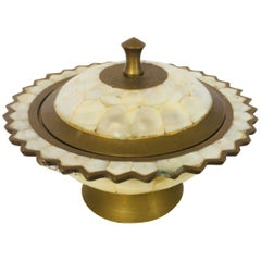Moorish Brass and Mother-of-Pearl Footed Container with Lid