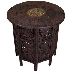 Moorish Carved and Inlaid Teak Six Side Coffee Table