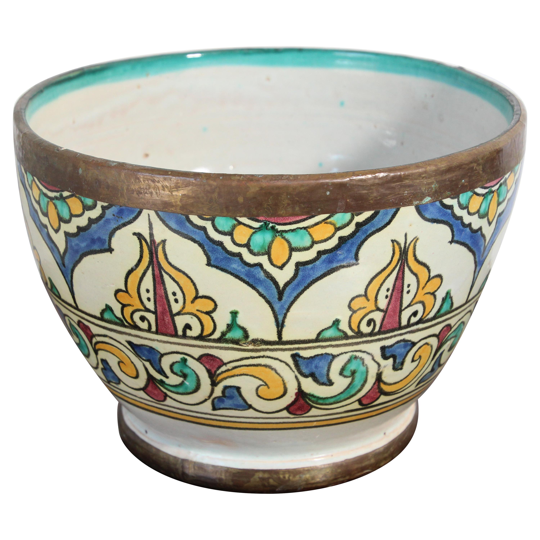 Moorish Ceramic Glazed Bowl Handcrafted in Fez Morocco