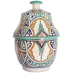 Moorish Ceramic Glazed Covered Jar Handcrafted in Fez Morocco