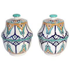 Moorish Ceramic Glazed Covered Jars Handcrafted in Fez Morocco