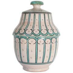 Moorish Ceramic Glazed Covered Urn Handcrafted in Fez Morocco