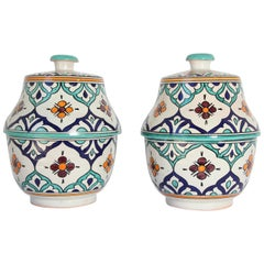 Moorish Ceramic Glazed Covered Urns Handcrafted in Fez Morocco