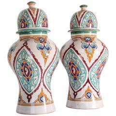 Moorish Ceramic Glazed Covered Urns Handcrafted in Fez Morocco