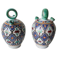 Moorish Ceramic Glazed Water Jug Handcrafted in Fez Morocco