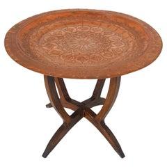 Moorish Copper Tray Side Table on Spider-Leg, 1950